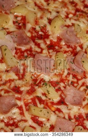 Baked Hawaii Pizza Macro Background Stock Photography High Quality