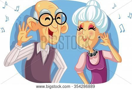 Old Senior Couple Listening To Music Vector Cartoon