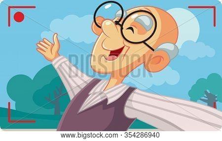 Old Senior Man Taking A Selfie Outside