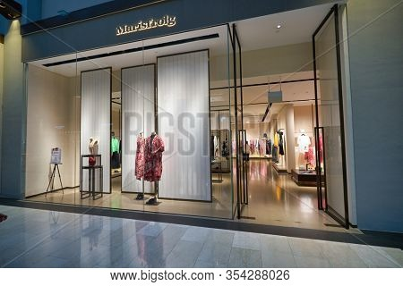 SINGAPORE - JANUARY 20, 2020: entrance to Marisfrolg store in the Shoppes at Marina Bay Sands.