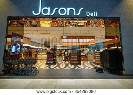SINGAPORE - JANUARY 20, 2020: Jasons Deli sign over a store entrance in the Shoppes at Marina Bay Sands. Jasons Deli is a supermarket and delicatessen.