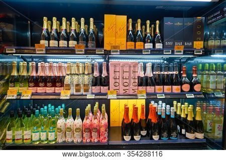 SINGAPORE - JANUARY 20, 2020: champagne bottles on display in Jasons Deli at the Shoppes at Marina Bay Sands. Jasons Deli is a supermarket and delicatessen.