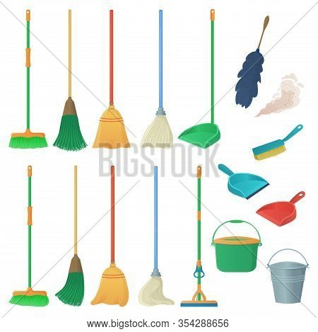 Cartoon Household Equipment Set. A Broom Sweeps Dust And Dirt On Scoop. Mop Or Swab, Feather Duster,