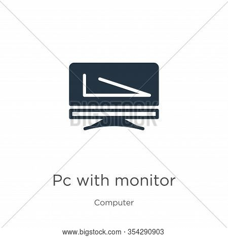 Pc With Monitor Icon Vector. Trendy Flat Pc With Monitor Icon From Computer Collection Isolated On W