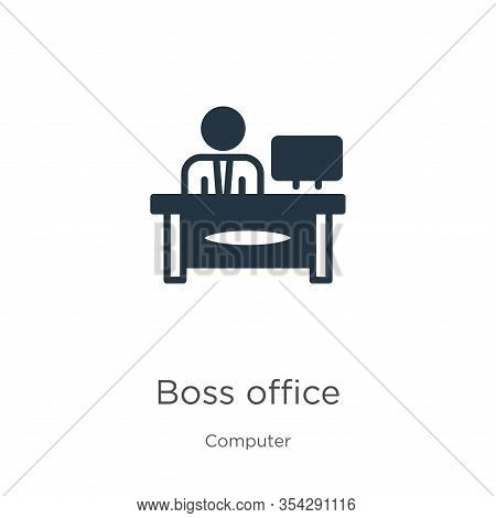 Boss Office Icon Vector. Trendy Flat Boss Office Icon From Computer Collection Isolated On White Bac