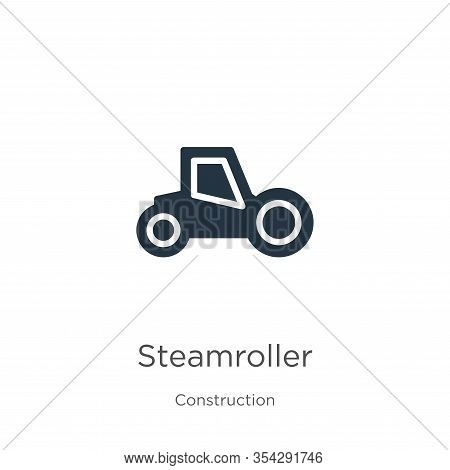 Steamroller Icon Vector. Trendy Flat Steamroller Icon From Construction Collection Isolated On White