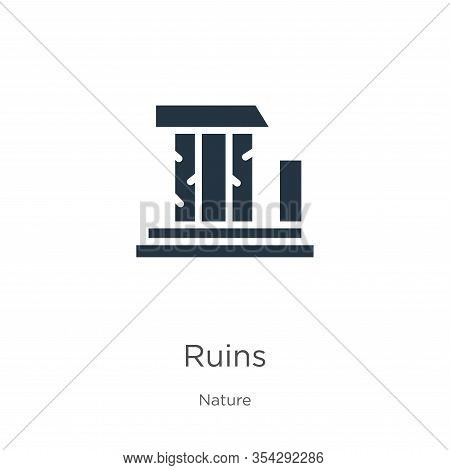 Ruins Icon Vector. Trendy Flat Ruins Icon From Nature Collection Isolated On White Background. Vecto
