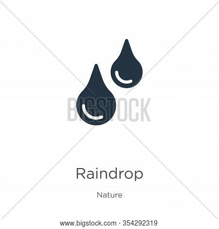 Raindrop Icon Vector. Trendy Flat Raindrop Icon From Nature Collection Isolated On White Background.
