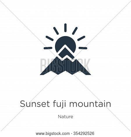 Sunset Fuji Mountain Icon Vector. Trendy Flat Sunset Fuji Mountain Icon From Nature Collection Isola