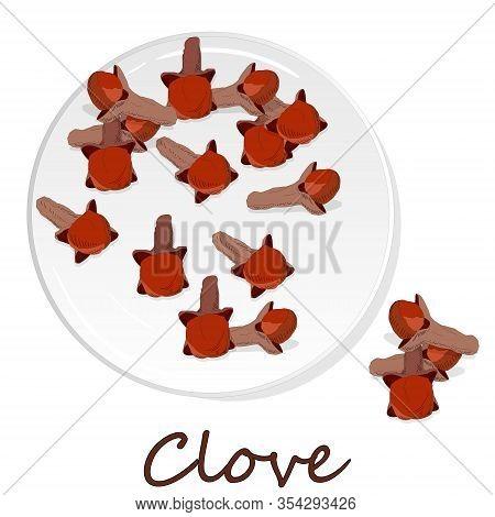 Dry Cloves On White Background. Art Illustration
