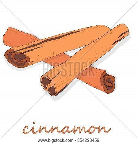 Cinnamon Sticks Isolated On White Background. Art Illustration