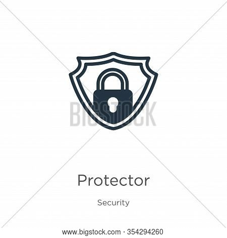 Protector Icon Vector. Trendy Flat Protector Icon From Security Collection Isolated On White Backgro