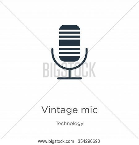 Vintage Mic Icon Vector. Trendy Flat Vintage Mic Icon From Technology Collection Isolated On White B