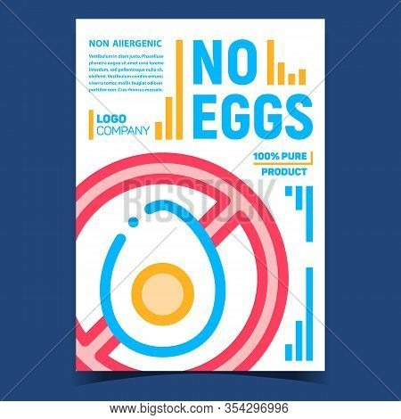 No Eggs Meal Creative Advertising Poster Vector. Non-allergenic Sliced Eggs Crossed Out Mark. Dietet