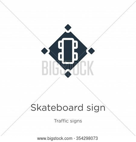 Skateboard Sign Icon Vector. Trendy Flat Skateboard Sign Icon From Traffic Signs Collection Isolated