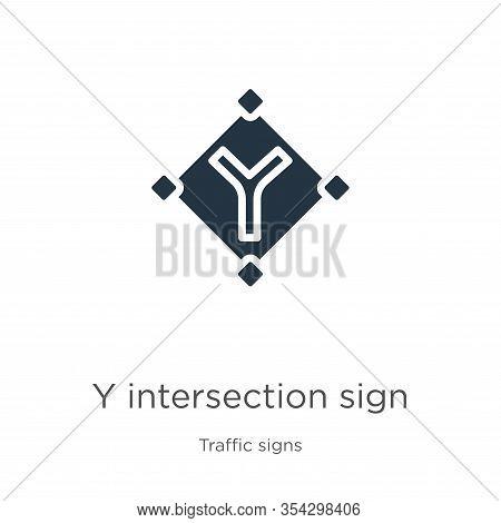 Y Intersection Sign Icon Vector. Trendy Flat Y Intersection Sign Icon From Traffic Signs Collection