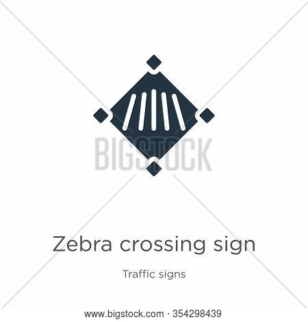 Zebra Crossing Sign Icon Vector. Trendy Flat Zebra Crossing Sign Icon From Traffic Signs Collection