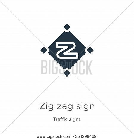 Zig Zag Sign Icon Vector. Trendy Flat Zig Zag Sign Icon From Traffic Signs Collection Isolated On Wh