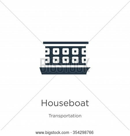 Houseboat Icon Vector. Trendy Flat Houseboat Icon From Transportation Collection Isolated On White B