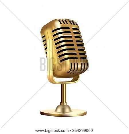 Microphone Vintage Style Radio Equipment Vector. Microphone For Singer Or Leading Concert Device. Si