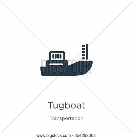 Tugboat Icon Vector. Trendy Flat Tugboat Icon From Transportation Collection Isolated On White Backg