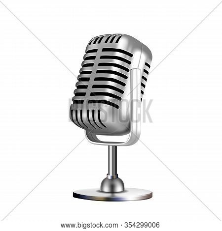 Microphone Retro Vocal Radio Equipment Vector. Audio Microphone For Online Anchorperson Studio Or Ka