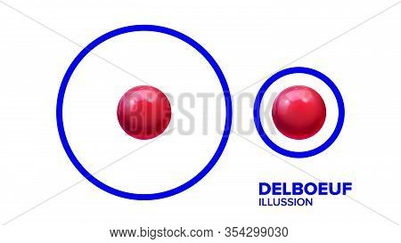 Optical Delboeuf Illusion Balls In Round Vector. Visual Illusion With Smaller Or Bigger Glossy Red S