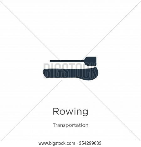 Rowing Icon Vector. Trendy Flat Rowing Icon From Transport Aytan Collection Isolated On White Backgr