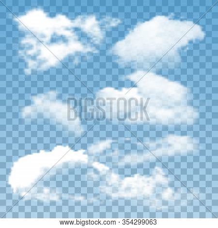 Fluffy Clouds Atmosphere Collection Set Vector. Different Air Clouds Natural Ornament. Good Cloudy D