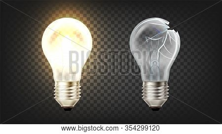 Glowing And Broken Incandescent Light Bulb Vector. Electrical Lightbulb With Wire Filament Heated An