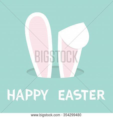 Happy Easter. Bunny Ears. Rabbit Hole. Hidden Head Face. Cute Cartoon Kawaii Funny Baby Character. F