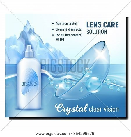 Crystal Clear Vision Advertising Banner Vector. Contact Lens In Crystal Water With Bubble, Blank Liq