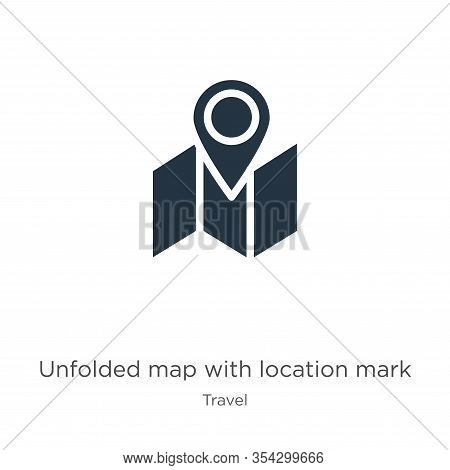 Unfolded Map With Location Mark Icon Vector. Trendy Flat Unfolded Map With Location Mark Icon From T