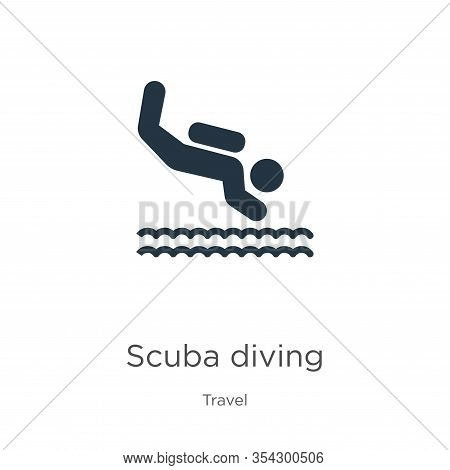 Scuba Diving Icon Vector. Trendy Flat Scuba Diving Icon From Travel Collection Isolated On White Bac