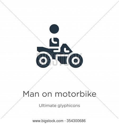 Man On Motorbike Icon Vector. Trendy Flat Man On Motorbike Icon From Ultimate Glyphicons Collection