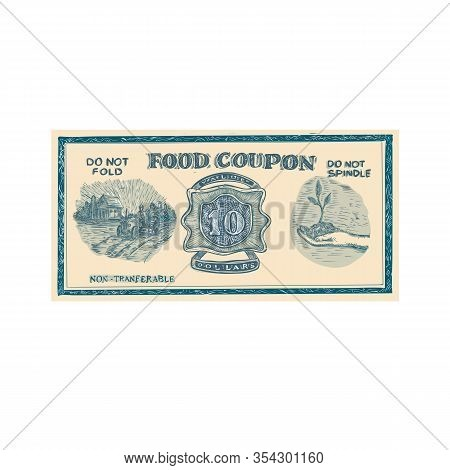 Drawing Sketch Style Illustration Of A Vintage American Food Coupon Or Food Stuff Ration On Isolated