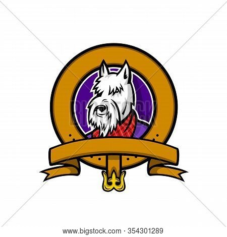 Sports Mascot Icon Illustration Of Head Of A Scottish Terrier, Aberdeen Terrier Or Scottie Dog Weari