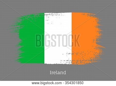 Ireland Official Flag In Shape Of Paintbrush Stroke. Irish National Identity Symbol. Grunge Brush Bl