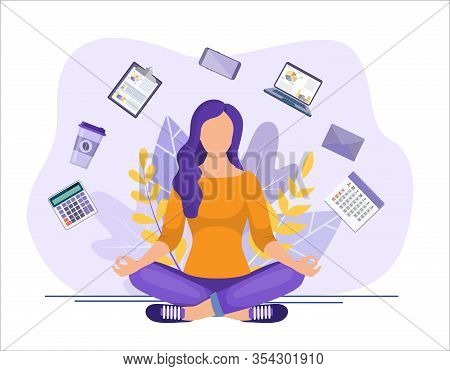 Business Yoga Concept. Businesswoman Meditating, Time Management, Stress Relief And Problem Solving