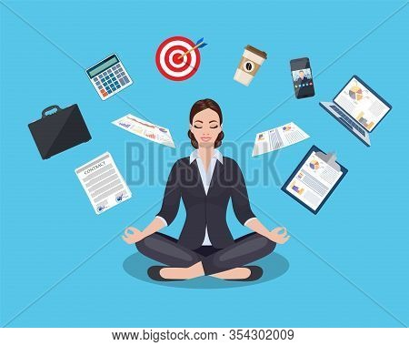 Businesswoman Meditating, Time Management, Stress Relief And Problem Solving Concepts, Man Thinking