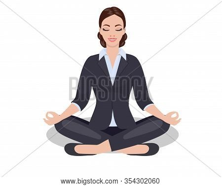 Business Woman Sitting In The Padmasana Lotus Pose. Office Worker Meditating, Relaxing Or Doing Yoga