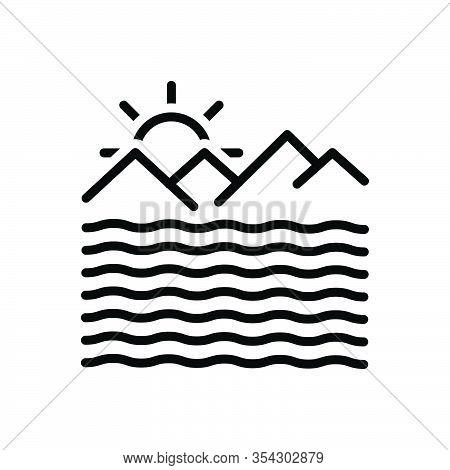 Black Line Icon For Ocean Briny Sea Deep Mare Saline Sand River Mountain Alkalescent Ocean-wave Moun