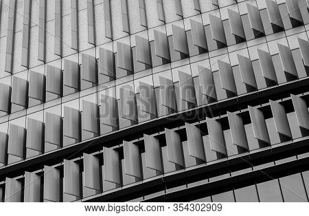 Closeup Window Of Skyscraper Glass Office Building. Exterior Commercial Building. Modern Architectur