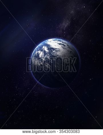 Abstract Space Illustration, 3d Image, Planet Earth In Space In The Radiance Of Stars