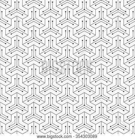 Abstract Seamless Pattern. Modern Stylish Texture. Linear Trellis. Geometric Tiles With Triple Hexag