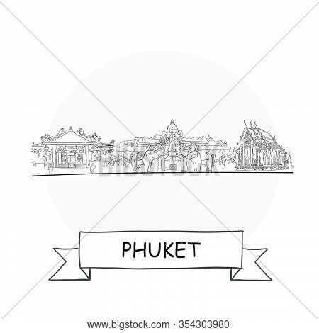 Phuket Cityscape Vector Sign. Line Art Illustration With Ribbon And Title.