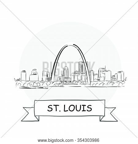 St. Louis Cityscape Vector Sign. Line Art Illustration With Ribbon And Title.