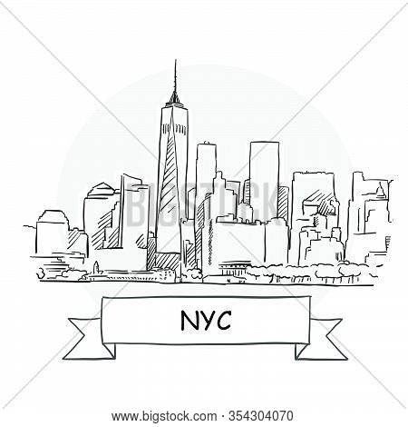 New York City Cityscape Vector Sign. Line Art Illustration With Ribbon And Title.
