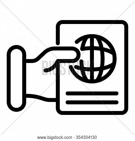 Give Passport Control Icon. Outline Give Passport Control Vector Icon For Web Design Isolated On Whi