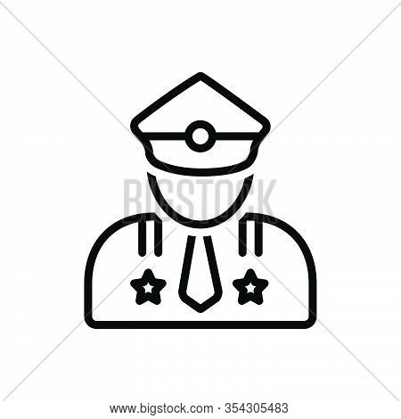 Black Line Icon For Major Man Gentleman Portrait Officer Avatar Person Leading Superior